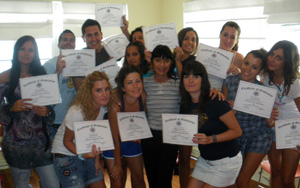 South Beach Languages Students with Certificate of Class Completion